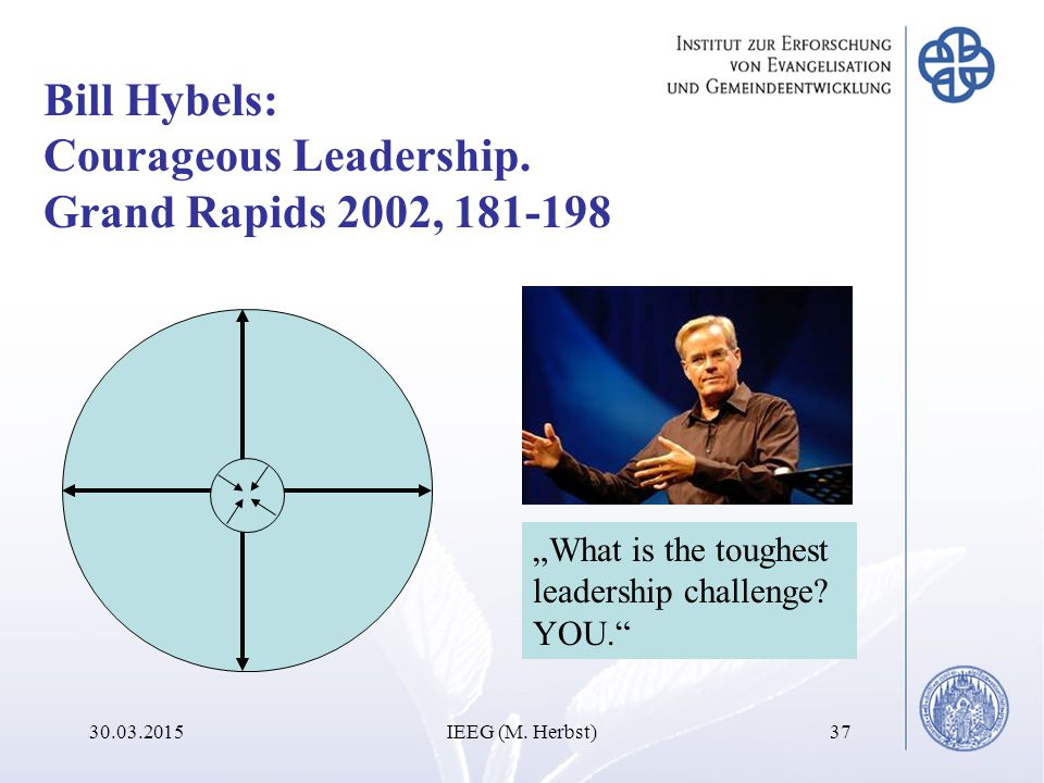 30.03.2015IEEG (M. Herbst)37 Bill Hybels: Courageous Leadership.
