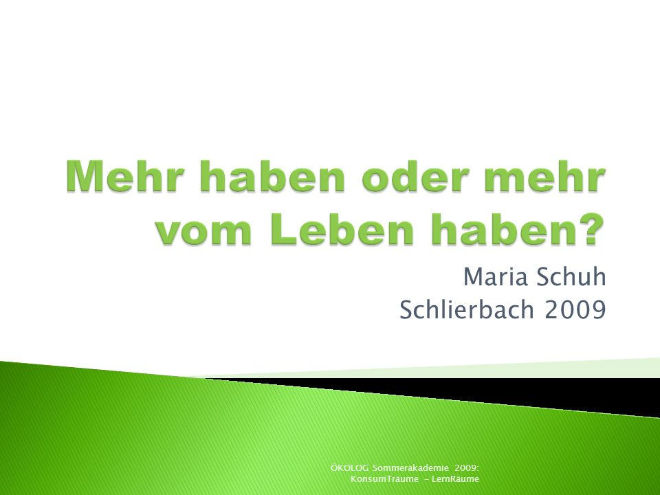 Maria Schuh Schlierbach 2009 ÖKOLOG Sommerakademie 2009: KonsumTräume - LernRäume