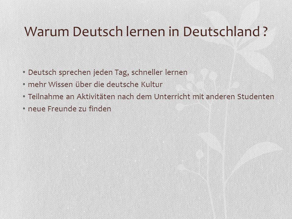 Warum Deutsch lernen in Deutschland ? Deutsch sprechen jeden Tag, schneller lernen mehr Wissen über die deutsche Kultur Teilnahme an Aktivitäten nach