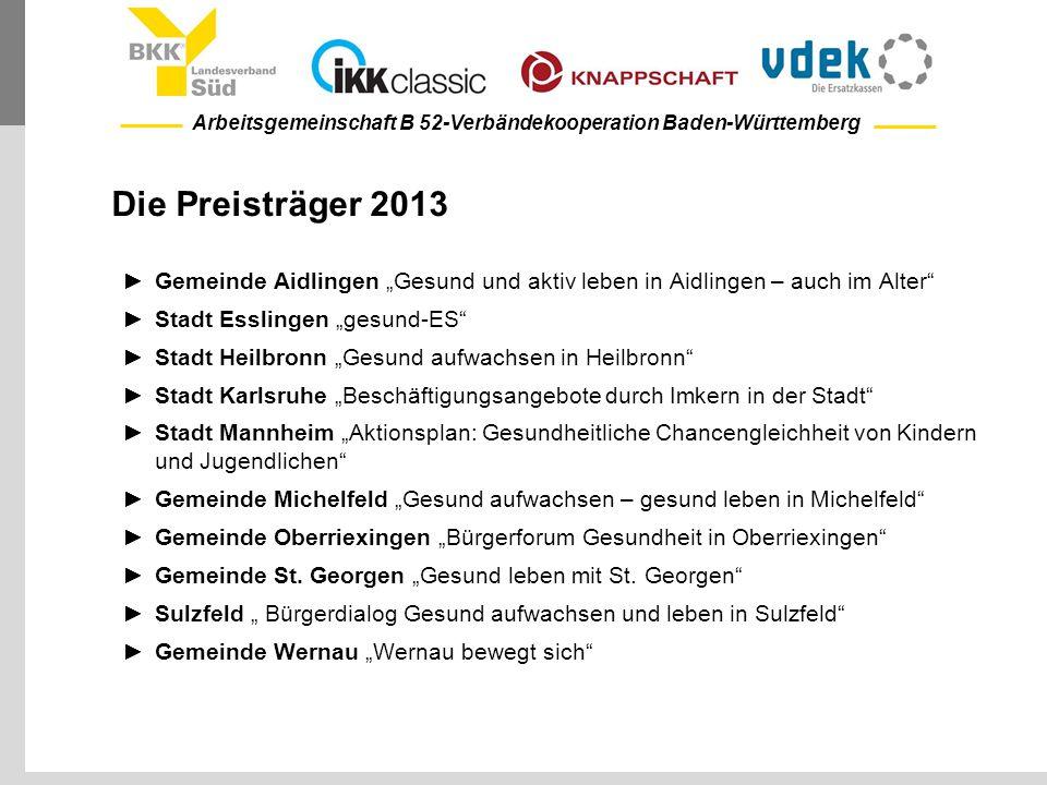 """Arbeitsgemeinschaft B 52-Verbändekooperation Baden-Württemberg Die Preisträger 2013 ►Gemeinde Aidlingen """"Gesund und aktiv leben in Aidlingen – auch im"""