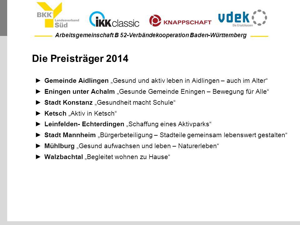 """Arbeitsgemeinschaft B 52-Verbändekooperation Baden-Württemberg Die Preisträger 2014 ►Gemeinde Aidlingen """"Gesund und aktiv leben in Aidlingen – auch im"""