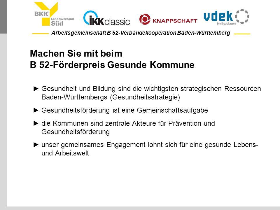 Arbeitsgemeinschaft B 52-Verbändekooperation Baden-Württemberg Machen Sie mit beim B 52-Förderpreis Gesunde Kommune ►Gesundheit und Bildung sind die w