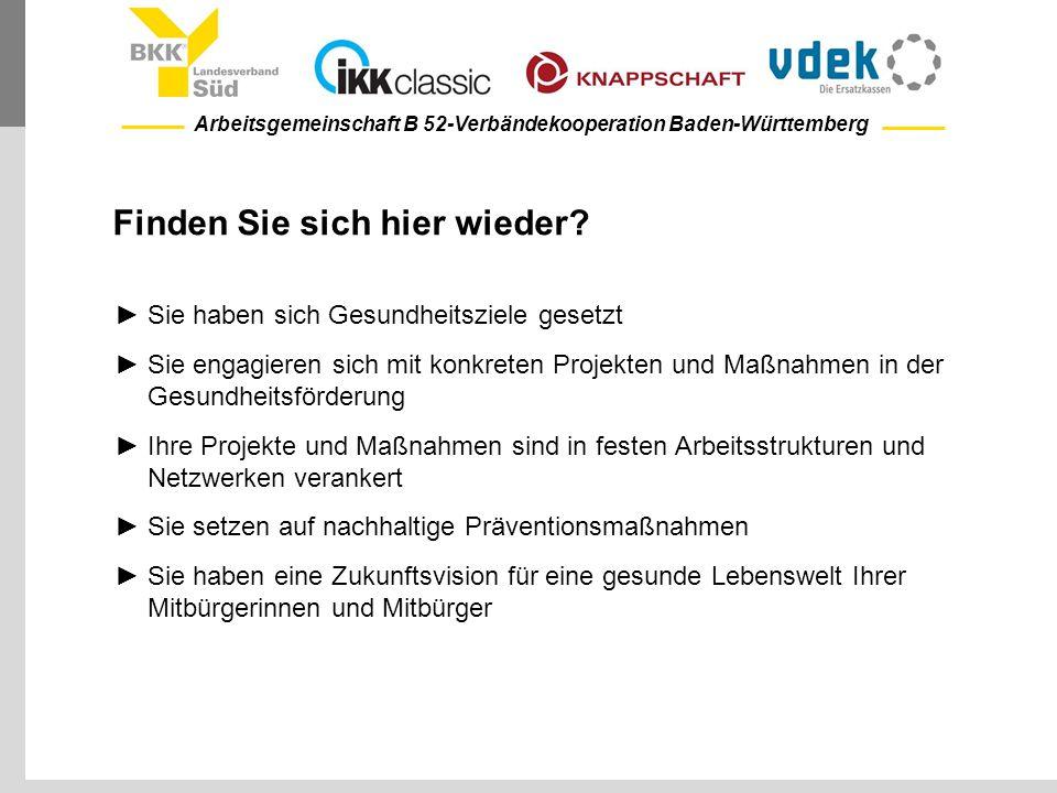 Arbeitsgemeinschaft B 52-Verbändekooperation Baden-Württemberg Finden Sie sich hier wieder? ►Sie haben sich Gesundheitsziele gesetzt ►Sie engagieren s