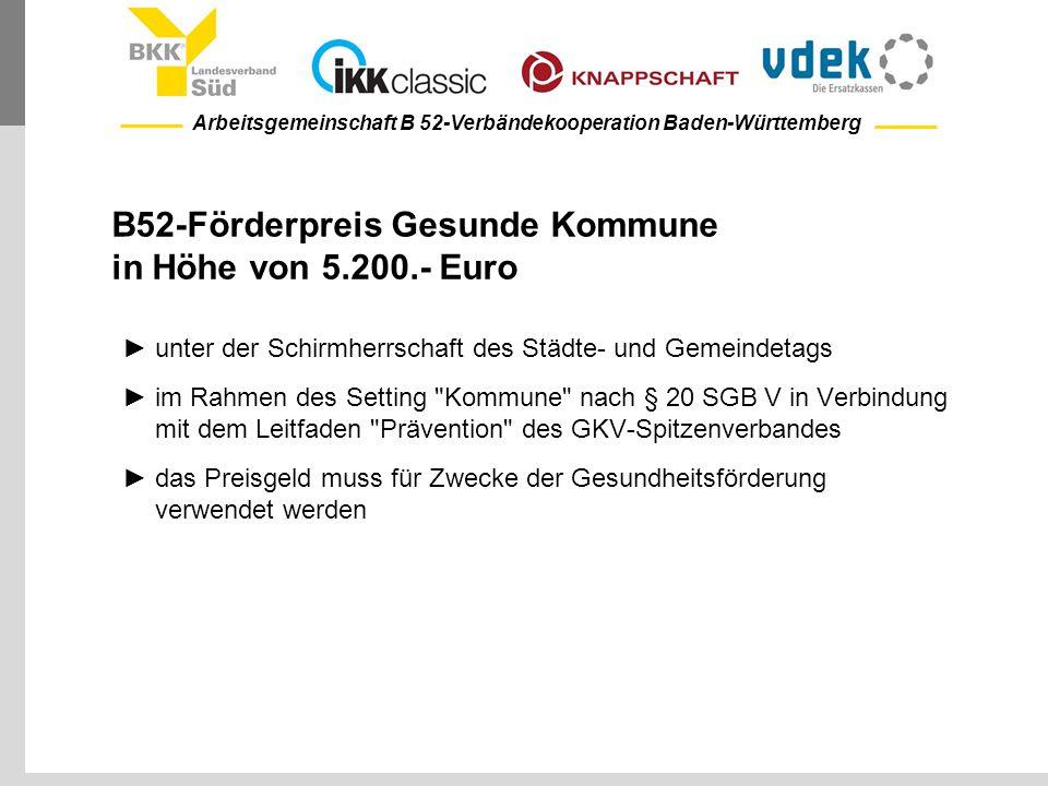 Arbeitsgemeinschaft B 52-Verbändekooperation Baden-Württemberg B52-Förderpreis Gesunde Kommune in Höhe von 5.200.- Euro ►unter der Schirmherrschaft de