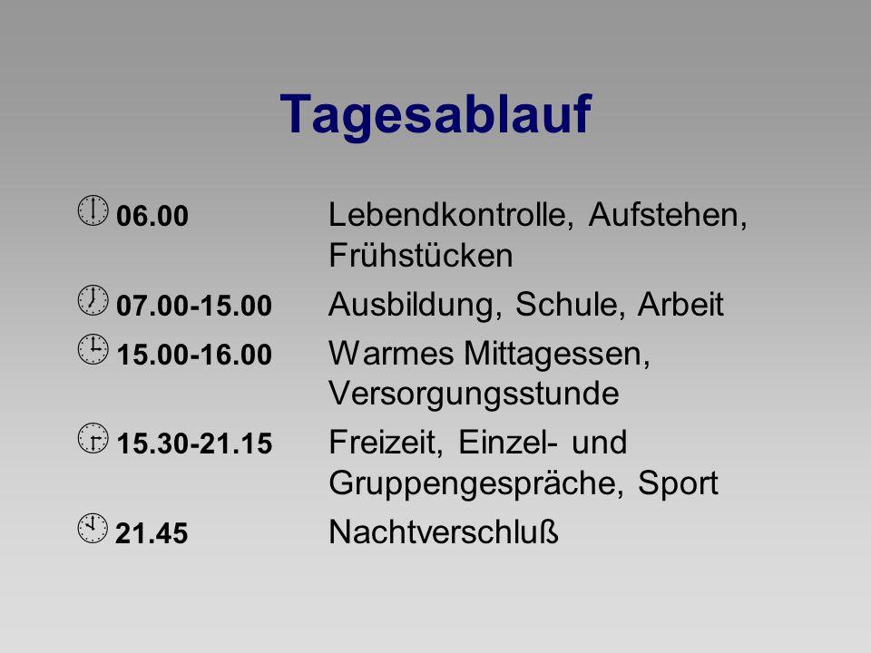 Tagesablauf  06.00 Lebendkontrolle, Aufstehen, Frühstücken  07.00-15.00 Ausbildung, Schule, Arbeit  15.00-16.00 Warmes Mittagessen, Versorgungsstun
