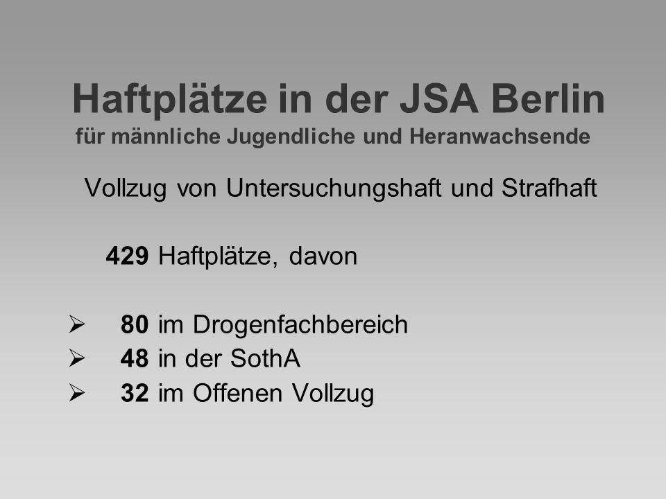 Haftplätze in der JSA Berlin für männliche Jugendliche und Heranwachsende Vollzug von Untersuchungshaft und Strafhaft 429 Haftplätze, davon  80im Dro