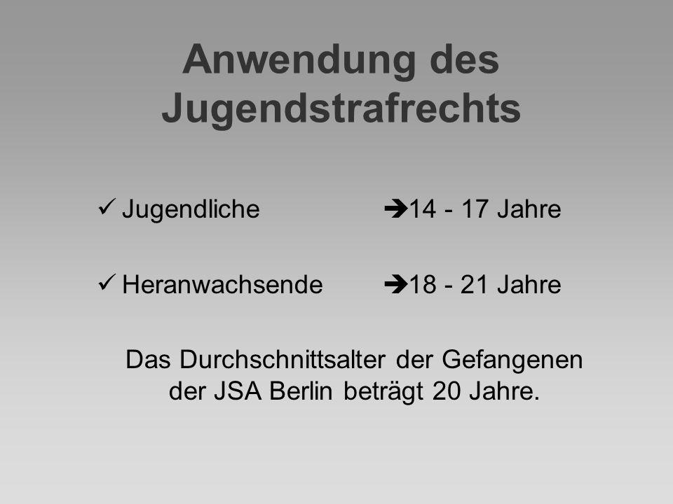 Anwendung des Jugendstrafrechts Jugendliche Heranwachsende  Das Durchschnittsalter der Gefangenen der JSA Berlin beträgt 20 Jahre.  14 - 17 Jahre 
