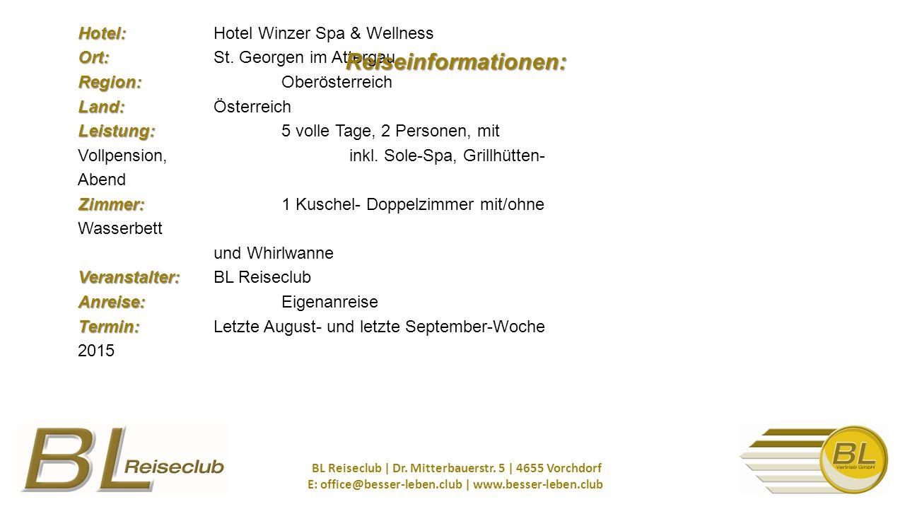 Hotel: Ort: Region: Land: Leistung: Zimmer: Veranstalter: Anreise: Termin: Hotel: Hotel Winzer Spa & Wellness Ort: St.
