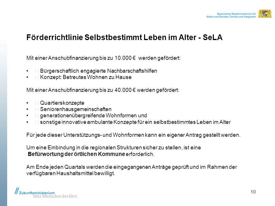 Förderrichtlinie Selbstbestimmt Leben im Alter - SeLA Mit einer Anschubfinanzierung bis zu 10.000 € werden gefördert:  Bürgerschaftlich engagierte Na
