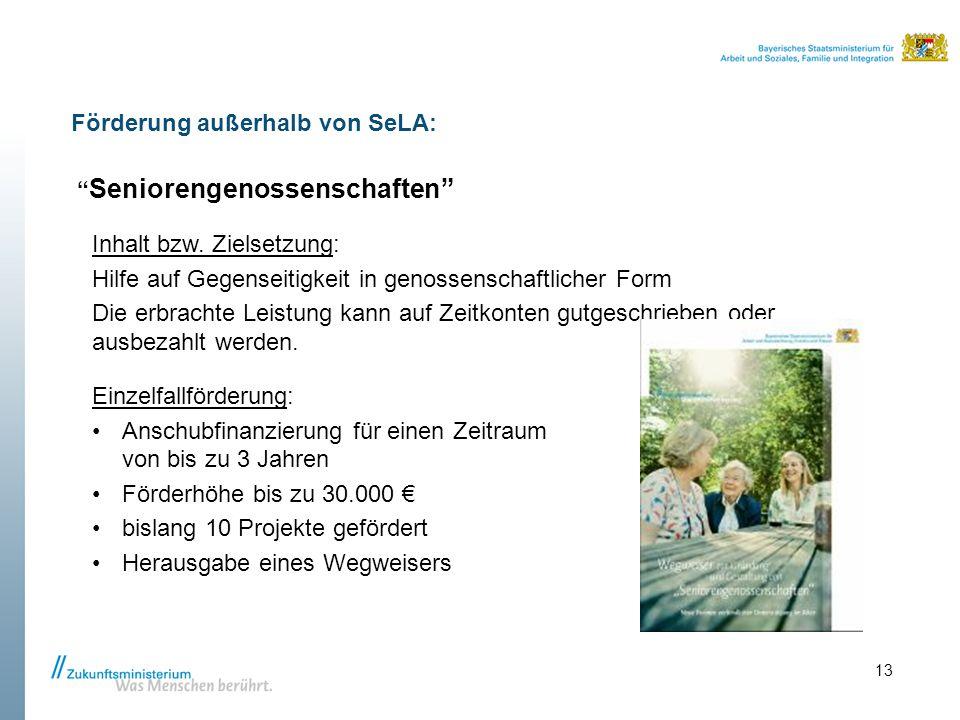 """Förderung außerhalb von SeLA: """" Seniorengenossenschaften"""" Inhalt bzw. Zielsetzung: Hilfe auf Gegenseitigkeit in genossenschaftlicher Form Die erbracht"""
