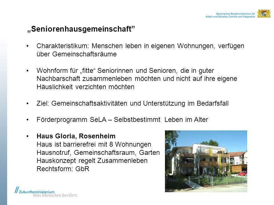 """""""Seniorenhausgemeinschaft"""" Charakteristikum: Menschen leben in eigenen Wohnungen, verfügen über Gemeinschaftsräume Wohnform für """"fitte"""" Seniorinnen un"""