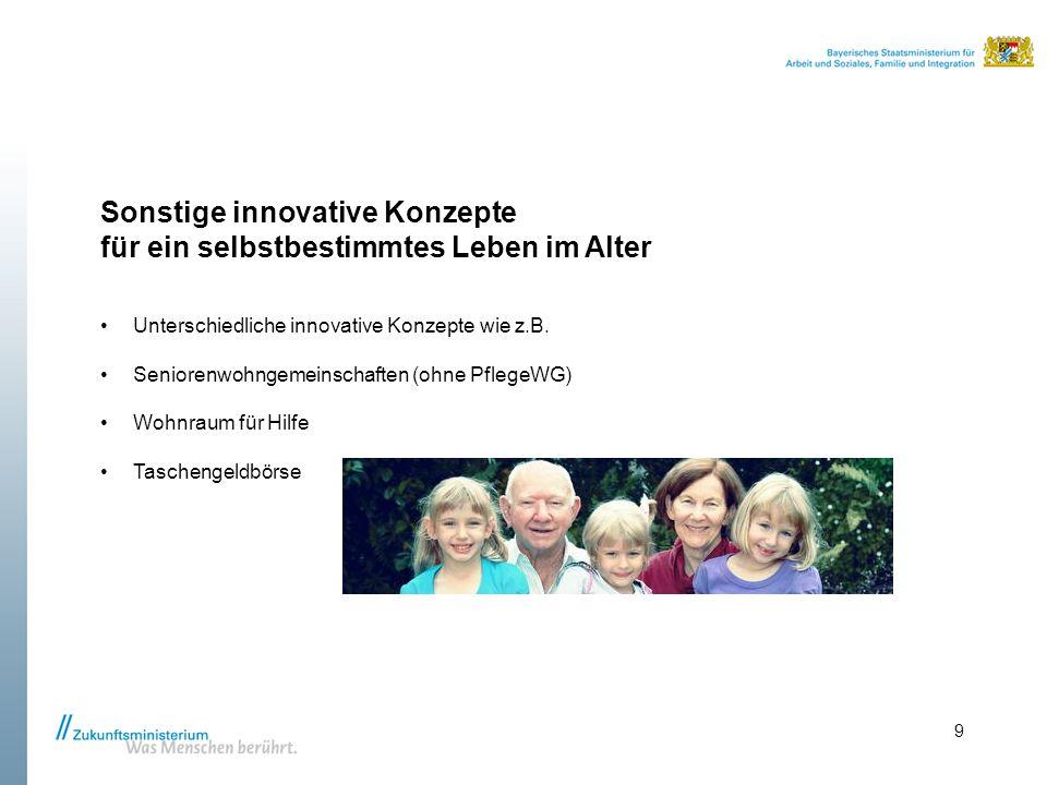Sonstige innovative Konzepte für ein selbstbestimmtes Leben im Alter Unterschiedliche innovative Konzepte wie z.B. Seniorenwohngemeinschaften (ohne Pf