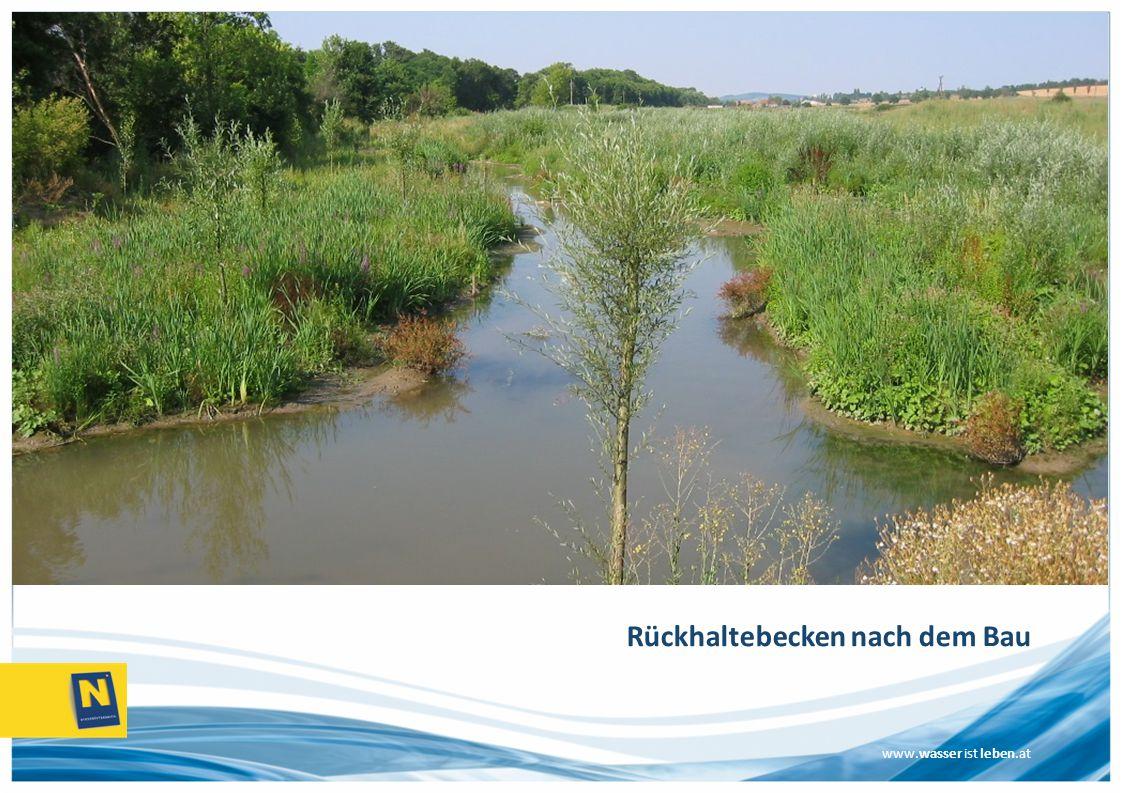www.wasser ist leben.at Rückhaltebecken nach dem Bau