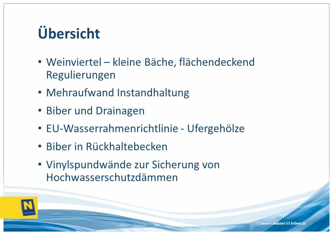 www.wasser ist leben.at Übersicht Weinviertel – kleine Bäche, flächendeckend Regulierungen Mehraufwand Instandhaltung Biber und Drainagen EU-Wasserrahmenrichtlinie - Ufergehölze Biber in Rückhaltebecken Vinylspundwände zur Sicherung von Hochwasserschutzdämmen