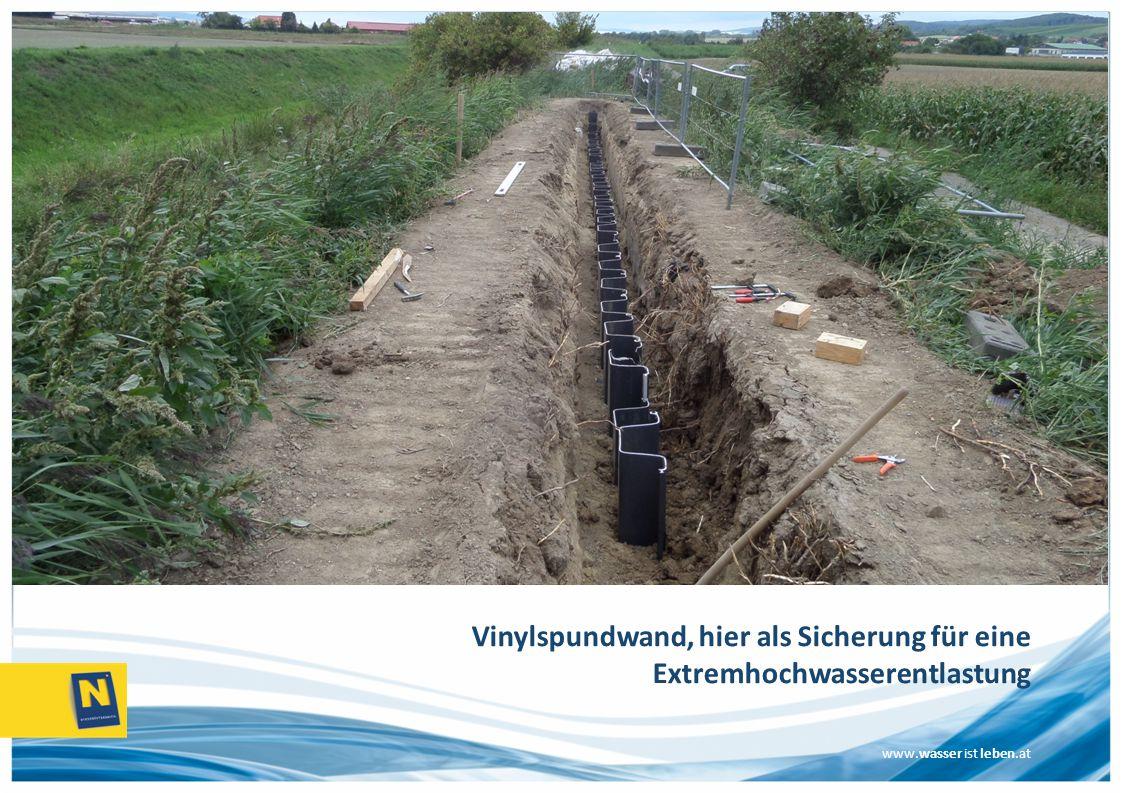www.wasser ist leben.at Vinylspundwand, hier als Sicherung für eine Extremhochwasserentlastung