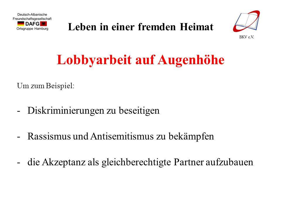 Leben in einer fremden Heimat Lobbyarbeit auf Augenhöhe Um zum Beispiel: -Diskriminierungen zu beseitigen -Rassismus und Antisemitismus zu bekämpfen -