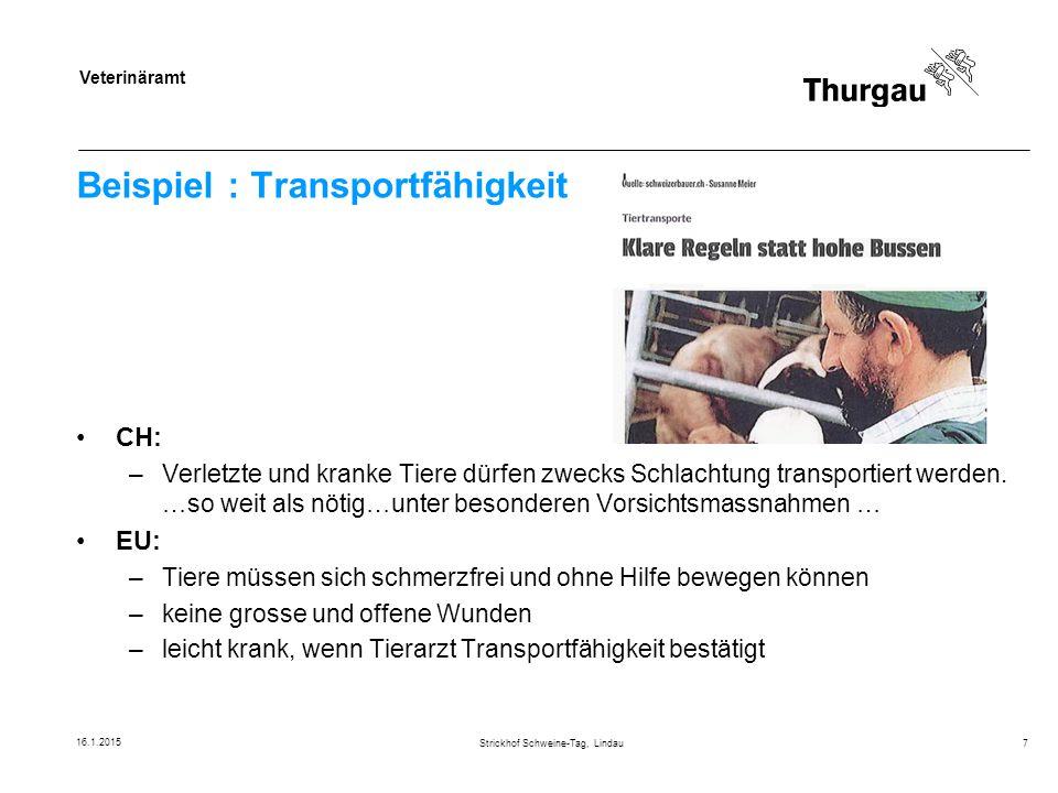 Veterinäramt Beispiel : Transportfähigkeit CH: –Verletzte und kranke Tiere dürfen zwecks Schlachtung transportiert werden. …so weit als nötig…unter be