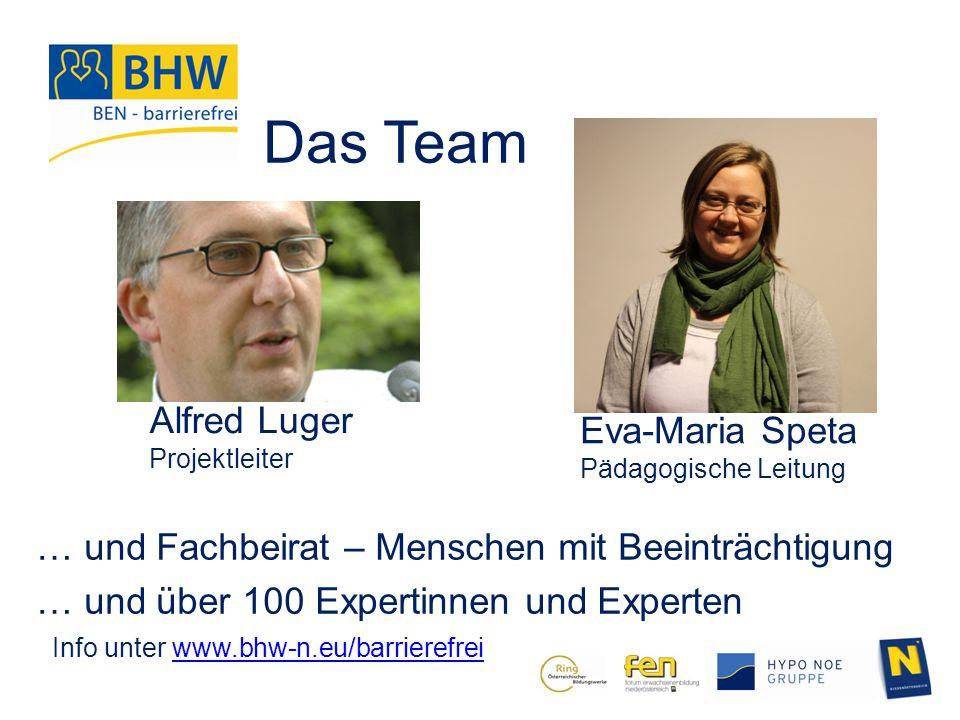 Das Team Alfred Luger Projektleiter Eva-Maria Speta Pädagogische Leitung … und Fachbeirat – Menschen mit Beeinträchtigung … und über 100 Expertinnen u