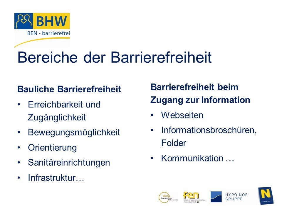Bereiche der Barrierefreiheit Bauliche Barrierefreiheit Erreichbarkeit und Zugänglichkeit Bewegungsmöglichkeit Orientierung Sanitäreinrichtungen Infra