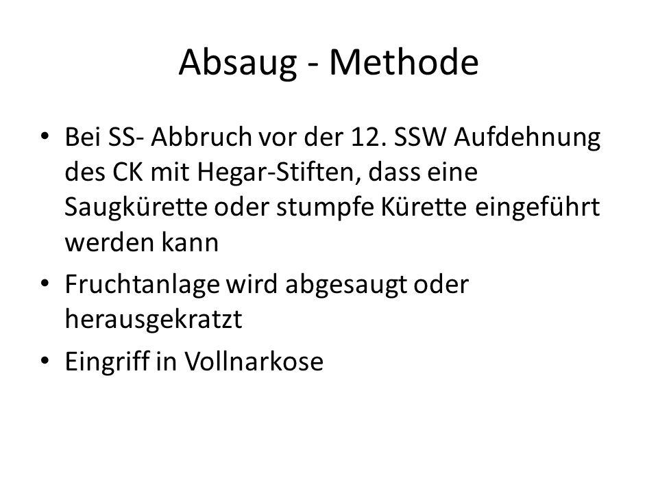 Absaug - Methode Bei SS- Abbruch vor der 12. SSW Aufdehnung des CK mit Hegar-Stiften, dass eine Saugkürette oder stumpfe Kürette eingeführt werden kan