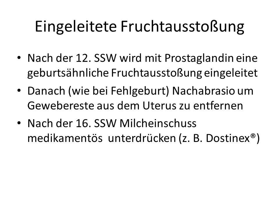 Eingeleitete Fruchtausstoßung Nach der 12. SSW wird mit Prostaglandin eine geburtsähnliche Fruchtausstoßung eingeleitet Danach (wie bei Fehlgeburt) Na