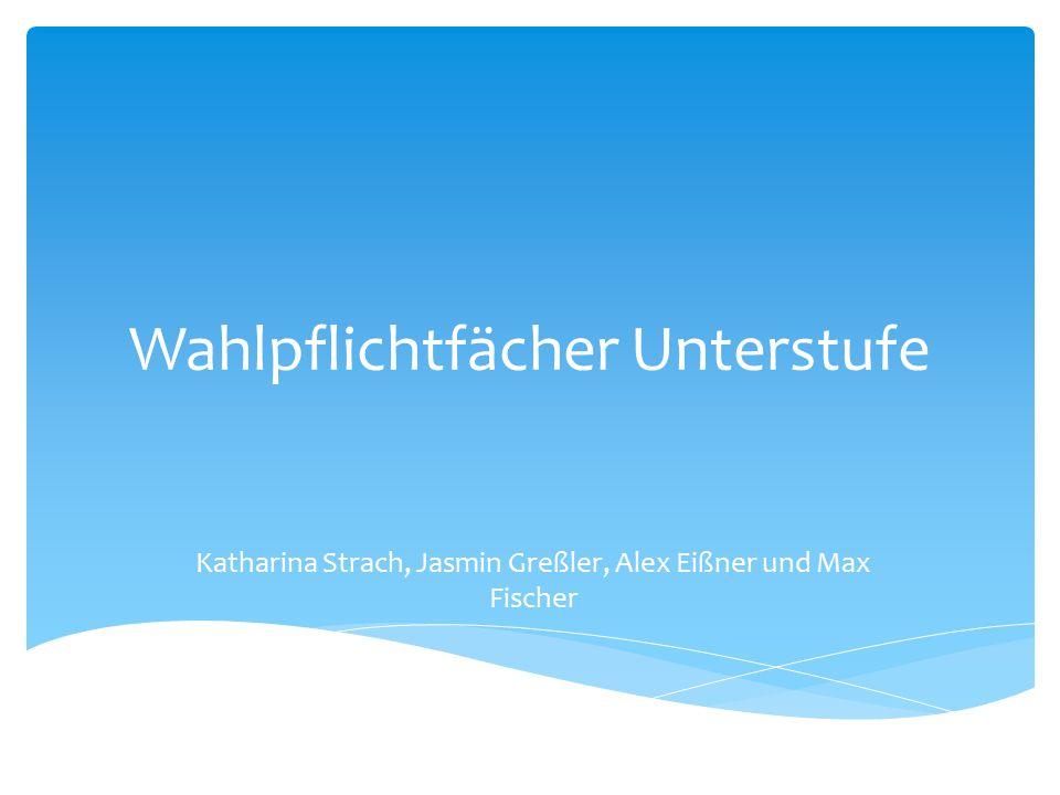 Wahlpflichtfächer Unterstufe Katharina Strach, Jasmin Greßler, Alex Eißner und Max Fischer