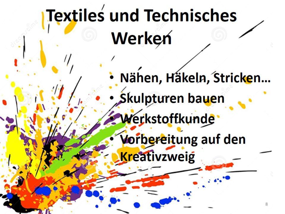  Nähen, Häkeln, Stricken  Skulpturen bauen  Werkstoffkunde  Vorbereitung auf den Kreativzweig Textiles und Technisches Werken