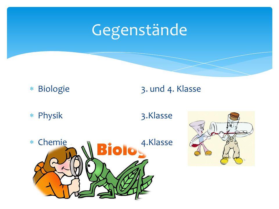  Biologie3. und 4. Klasse  Physik3.Klasse  Chemie4.Klasse Gegenstände