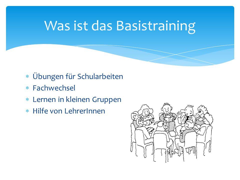  Übungen für Schularbeiten  Fachwechsel  Lernen in kleinen Gruppen  Hilfe von LehrerInnen Was ist das Basistraining