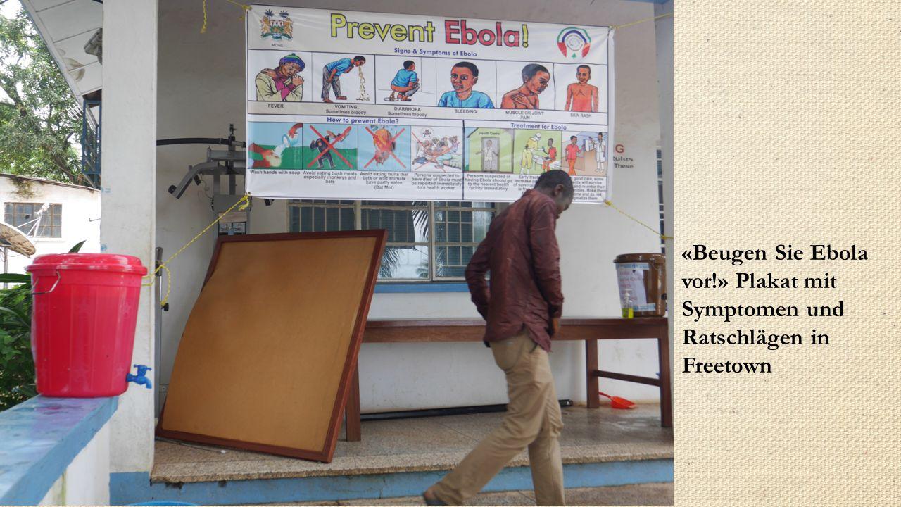 «Beugen Sie Ebola vor!» Plakat mit Symptomen und Ratschlägen in Freetown
