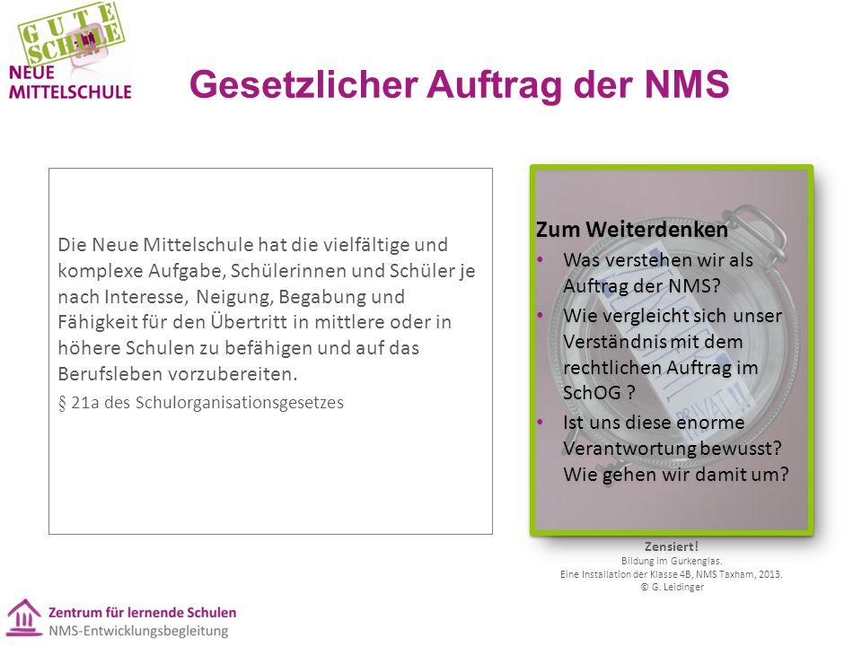 Gesetzlicher Auftrag der NMS Die Neue Mittelschule hat die vielfältige und komplexe Aufgabe, Schülerinnen und Schüler je nach Interesse, Neigung, Bega