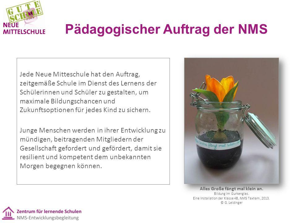 Pädagogischer Auftrag der NMS Jede Neue Mitteschule hat den Auftrag, zeitgemäße Schule im Dienst des Lernens der Schülerinnen und Schüler zu gestalten