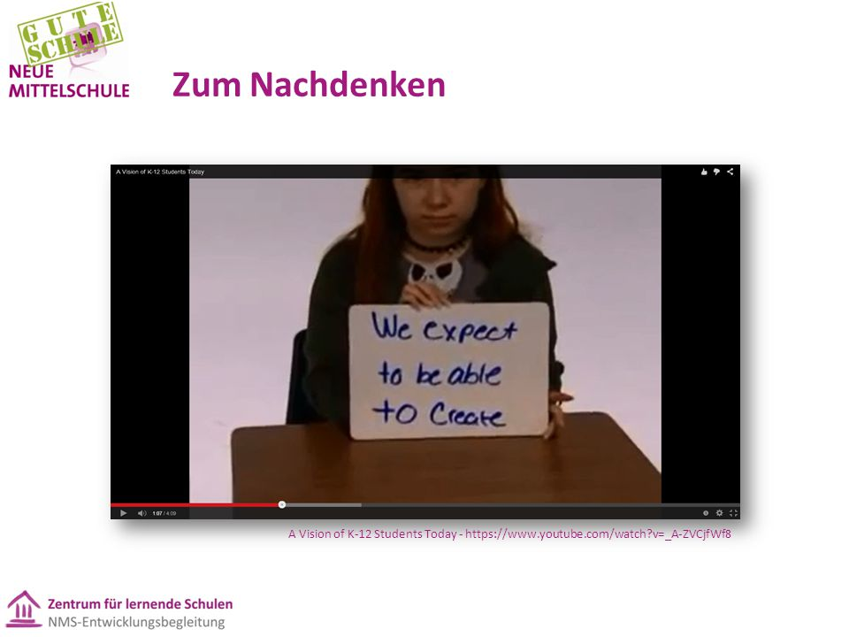 Zum Nachdenken A Vision of K-12 Students Today - https://www.youtube.com/watch?v=_A-ZVCjfWf8