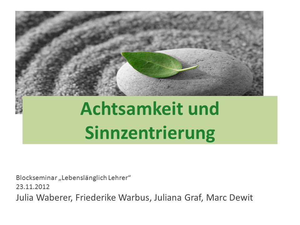 """Julia Waberer Achtsamkeit und Sinnzentrierung Blockseminar """"Lebenslänglich Lehrer"""" 23.11.2012 Julia Waberer, Friederike Warbus, Juliana Graf, Marc Dew"""