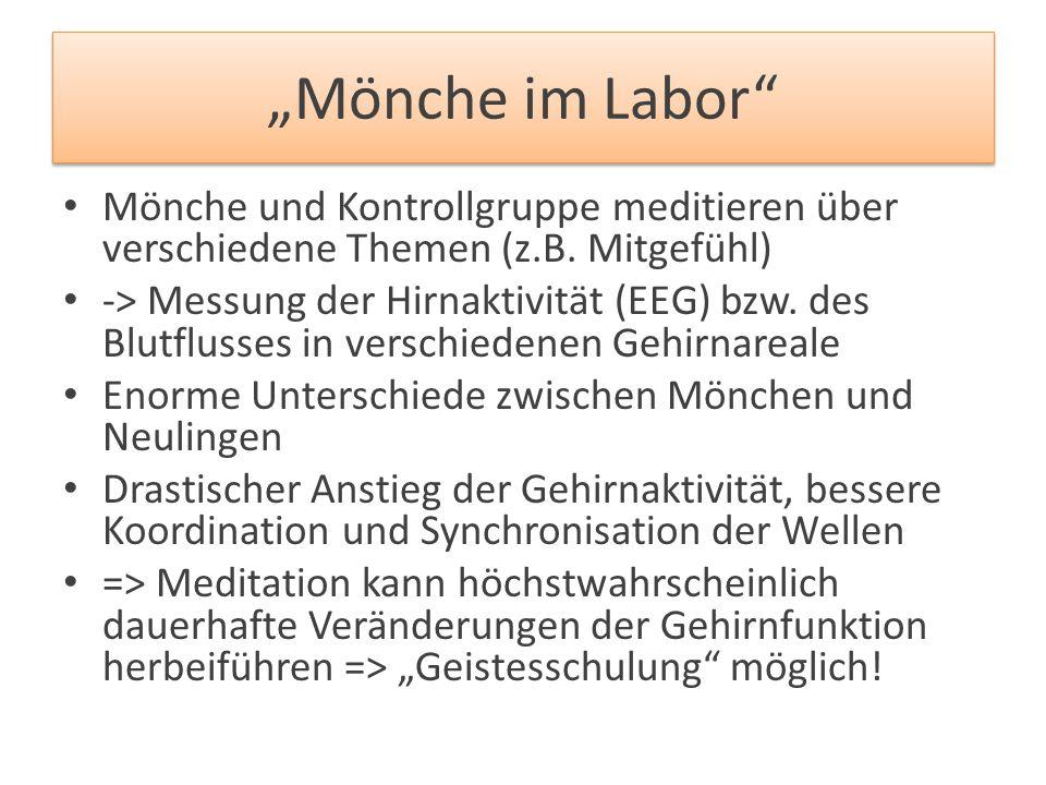 """""""Mönche im Labor"""" Mönche und Kontrollgruppe meditieren über verschiedene Themen (z.B. Mitgefühl) -> Messung der Hirnaktivität (EEG) bzw. des Blutfluss"""
