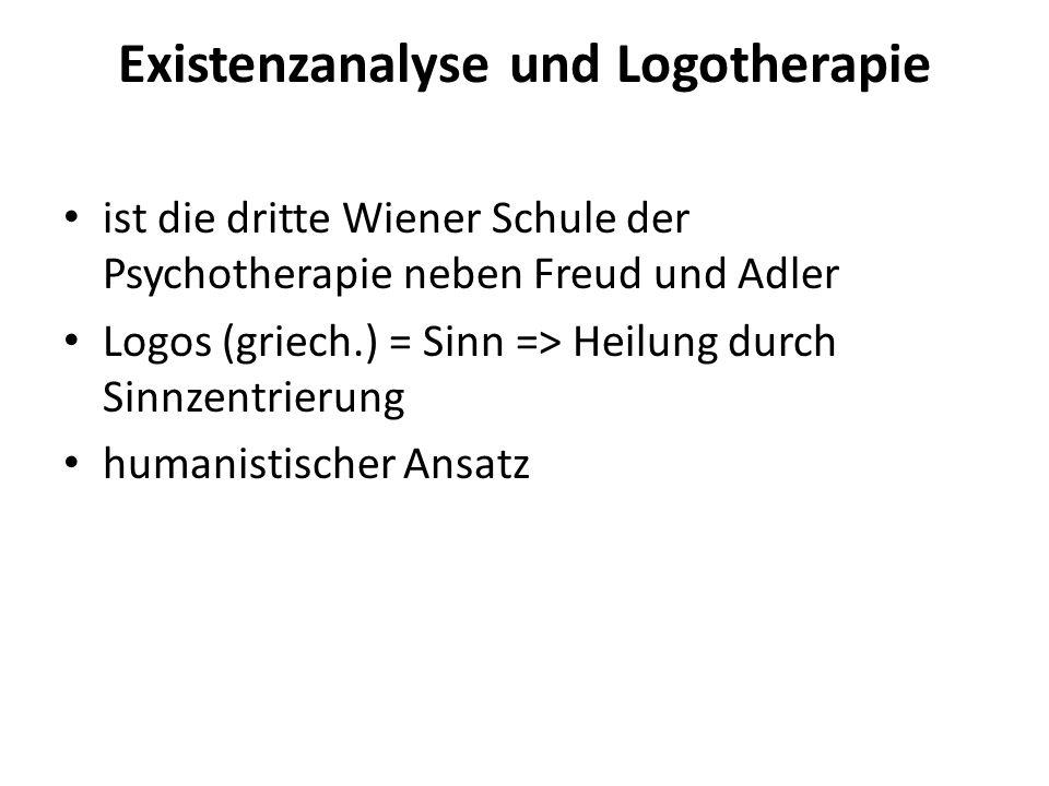 Existenzanalyse und Logotherapie ist die dritte Wiener Schule der Psychotherapie neben Freud und Adler Logos (griech.) = Sinn => Heilung durch Sinnzen