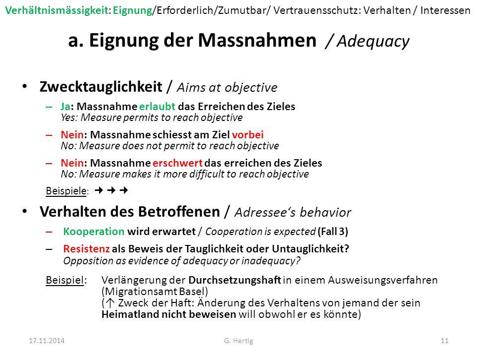 a. Eignung der Massnahmen / Adequacy Zwecktauglichkeit / Aims at objective – Ja: Massnahme erlaubt das Erreichen des Zieles Yes: Measure permits to re