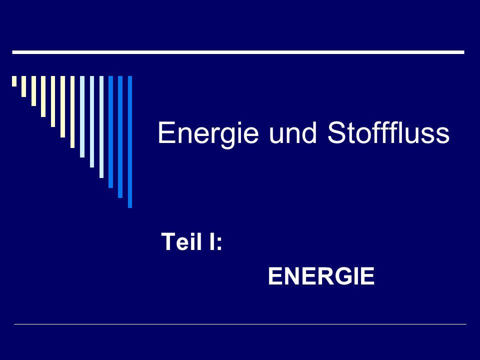 Energie und Stofffluss Teil I: ENERGIE