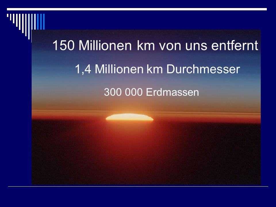 150 Millionen km von uns entfernt 1,4 Millionen km Durchmesser 300 000 Erdmassen