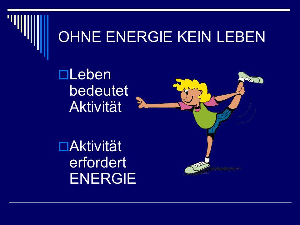 OHNE ENERGIE KEIN LEBEN  Leben bedeutet Aktivität  Aktivität erfordert ENERGIE