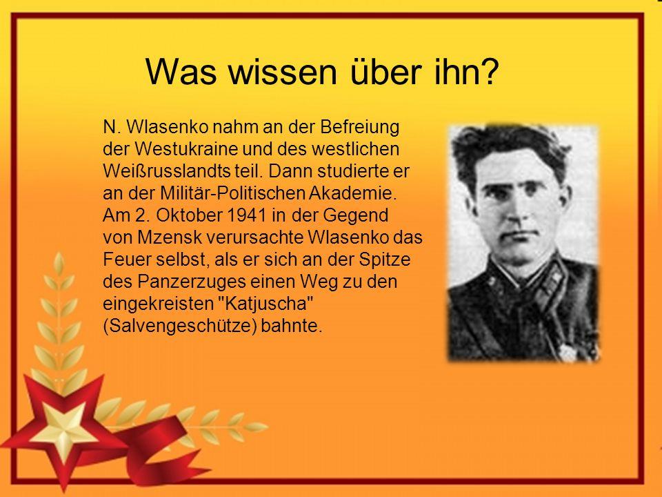 Was wissen über ihn? N. Wlasenko nahm an der Befreiung der Westukraine und des westlichen Weißrusslandts teil. Dann studierte er an der Militär-Politi
