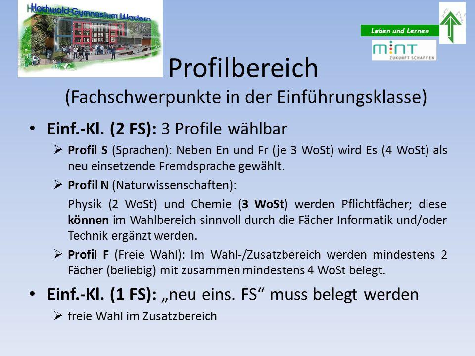 Leben und Lernen Profilbereich (Fachschwerpunkte in der Einführungsklasse) Einf.-Kl.