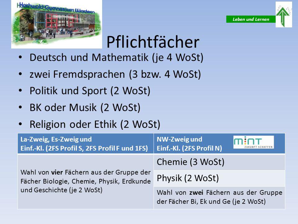 Leben und Lernen Pflichtfächer Deutsch und Mathematik (je 4 WoSt) zwei Fremdsprachen (3 bzw.