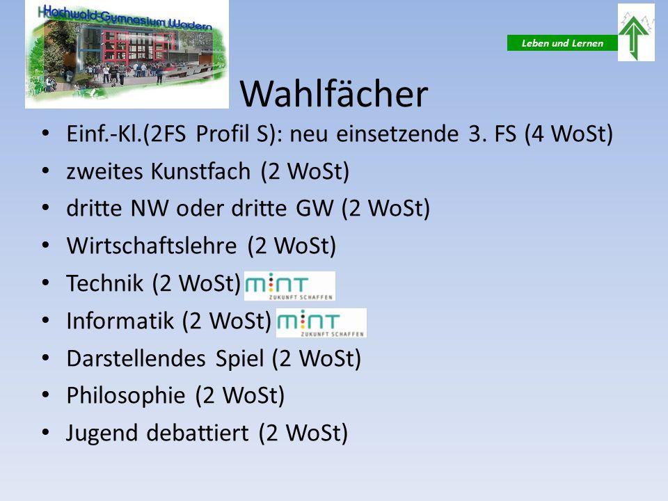 Leben und Lernen Wahlfächer Einf.-Kl.(2FS Profil S): neu einsetzende 3.