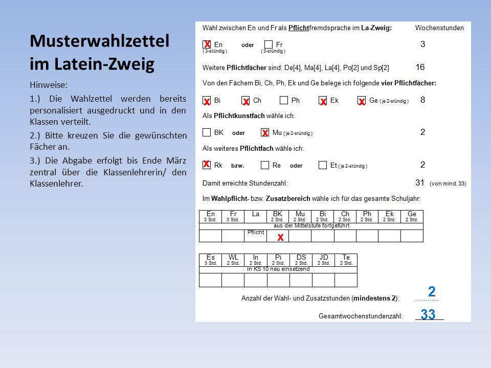 Musterwahlzettel im Latein-Zweig Hinweise: 1.) Die Wahlzettel werden bereits personalisiert ausgedruckt und in den Klassen verteilt.