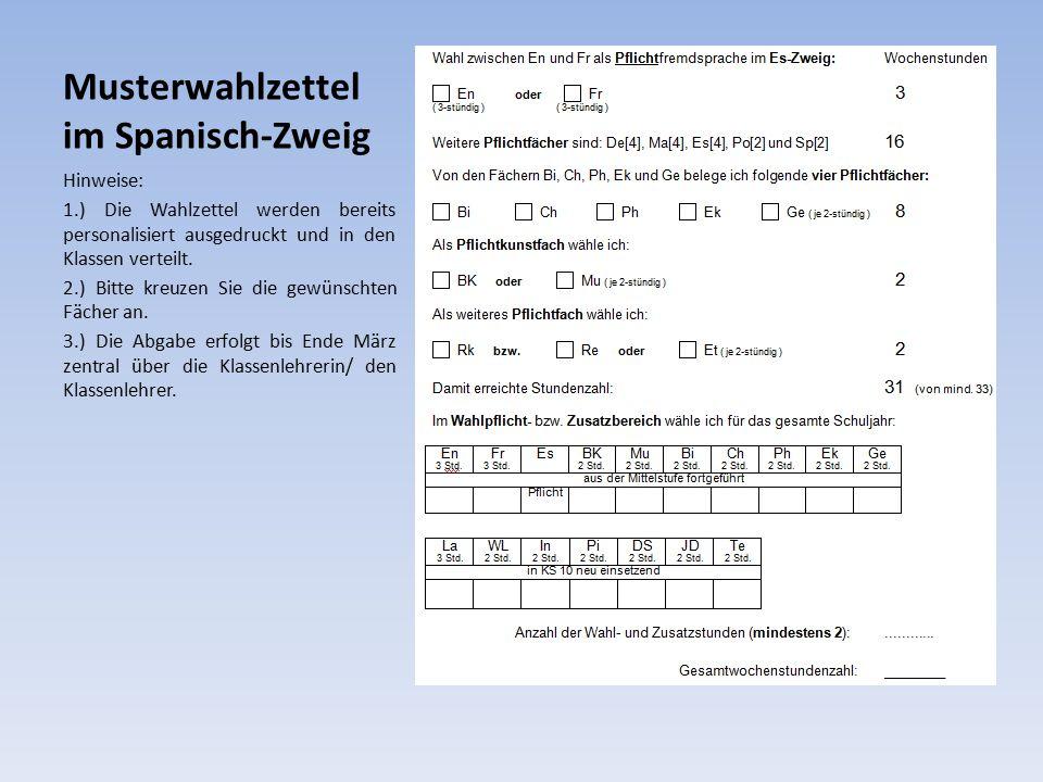 Musterwahlzettel im Spanisch-Zweig Hinweise: 1.) Die Wahlzettel werden bereits personalisiert ausgedruckt und in den Klassen verteilt.