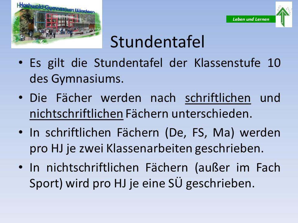 Leben und Lernen Stundentafel Es gilt die Stundentafel der Klassenstufe 10 des Gymnasiums.