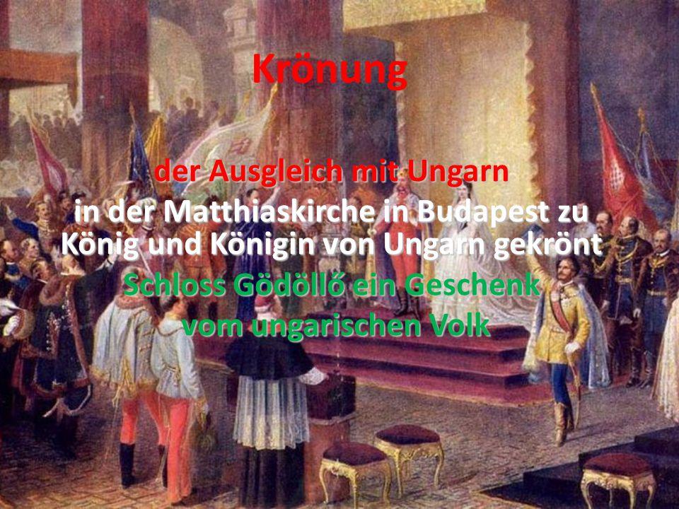 Krönung der Ausgleich mit Ungarn in der Matthiaskirche in Budapest zu König und Königin von Ungarn gekrönt Schloss Gödöllő ein Geschenk vom ungarischen Volk vom ungarischen Volk