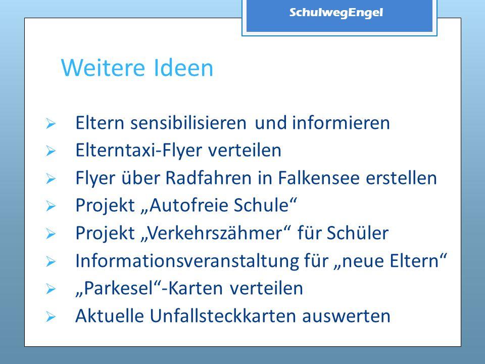 SchulwegEngel Weitere Ideen  Eltern sensibilisieren und informieren  Elterntaxi-Flyer verteilen  Flyer über Radfahren in Falkensee erstellen  Proj