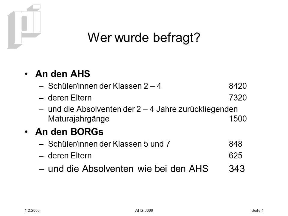 1.2.2006AHS 3000Seite 5 Ergebnisse Es haben 26 AHS und 4 BORGs an der Befragung teilgenommen Die Ergebnisse wurden für die befragten Schulen ausgewertet und an diesen Schule präsentiert, speziell interessant waren die Vergleiche mit dem oö.